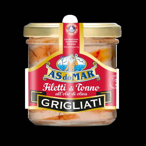 Grilled Tuna fillet in oliove oil in glass jar