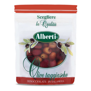 "Pitted ""Cultivar Taggiasca"" olives in stand up bag with zip save freshness"